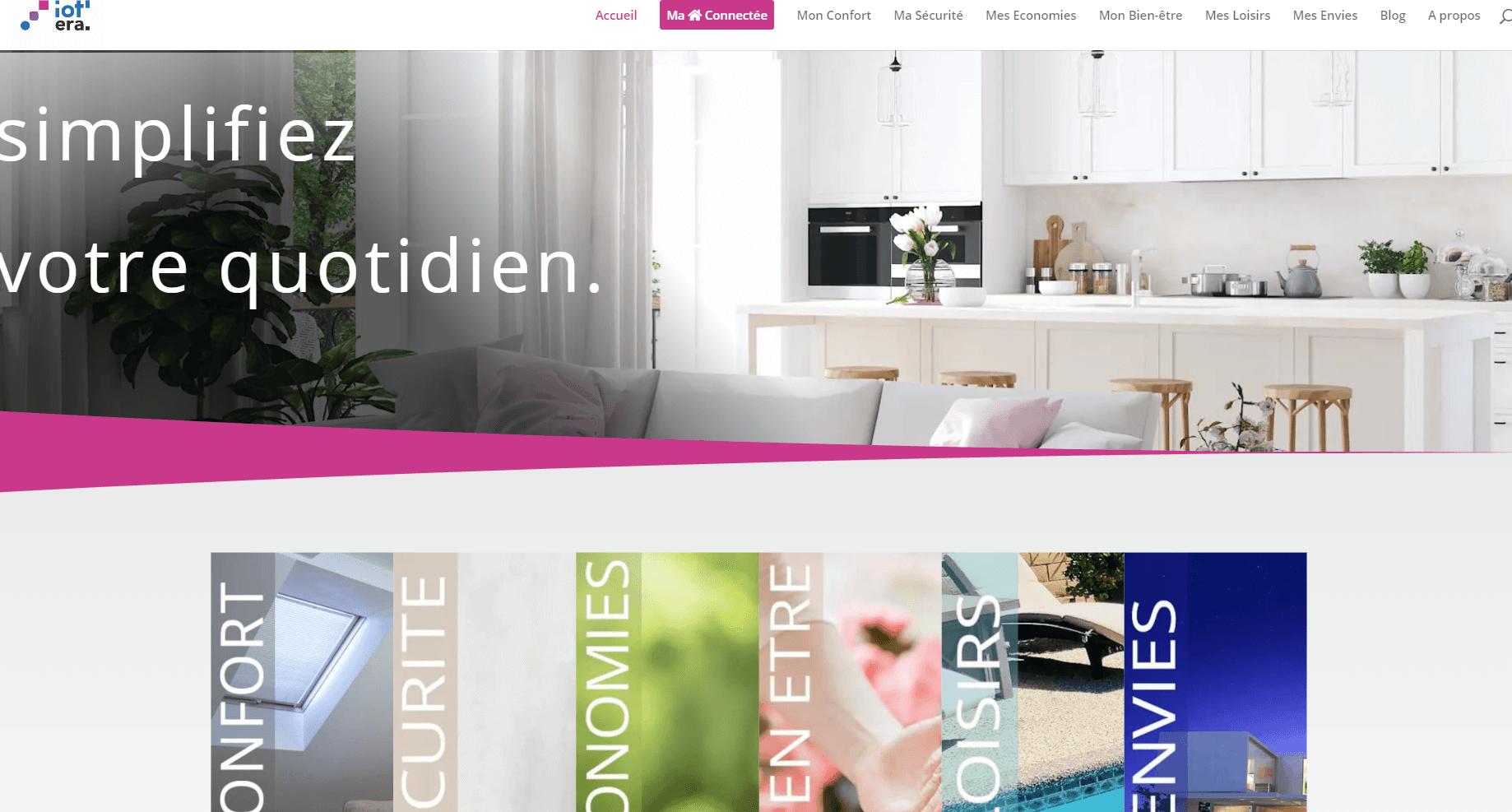 Page d'accueil du site web IoT'era