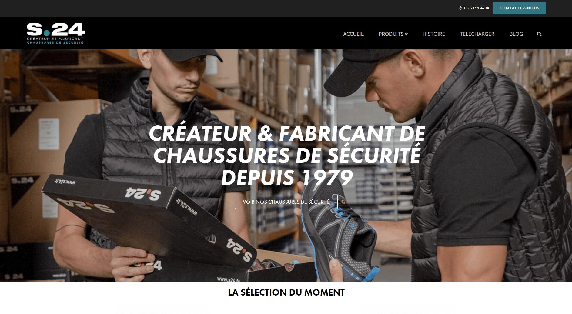 Homepage du site web S24 fabricants de chaussures de sécurité